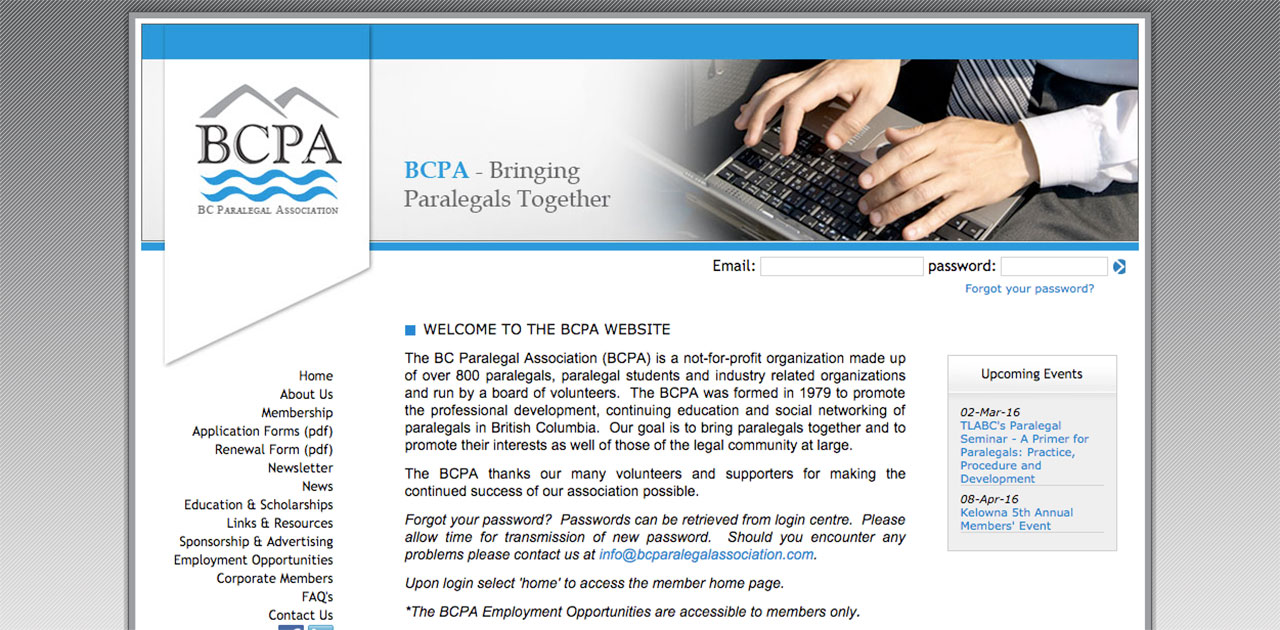 BCPA home page before SilkStart