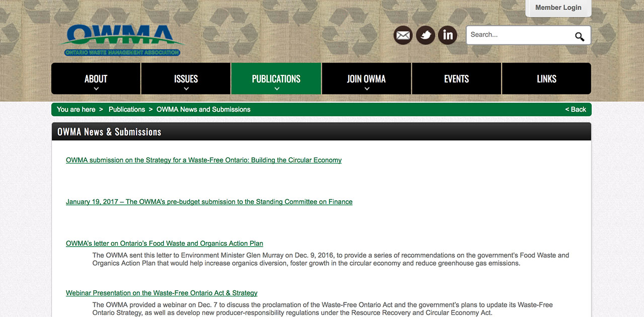 OWMA articles page before SilkStart