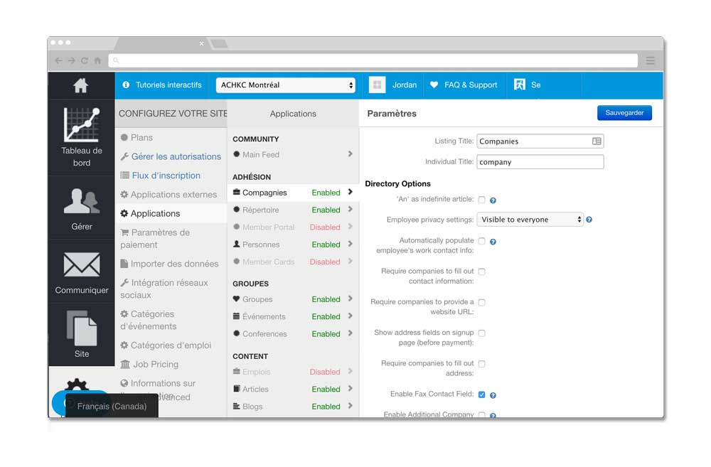 SilkStart Admin panel translated to french using LocalizeJS.