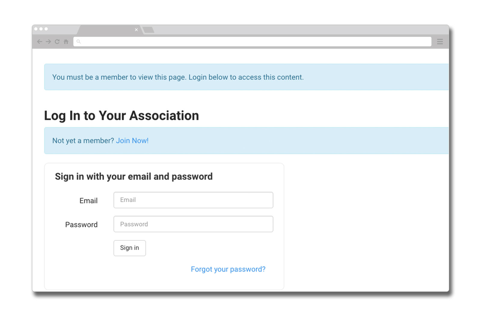SilkStart's built in permissions-based log in functionality.