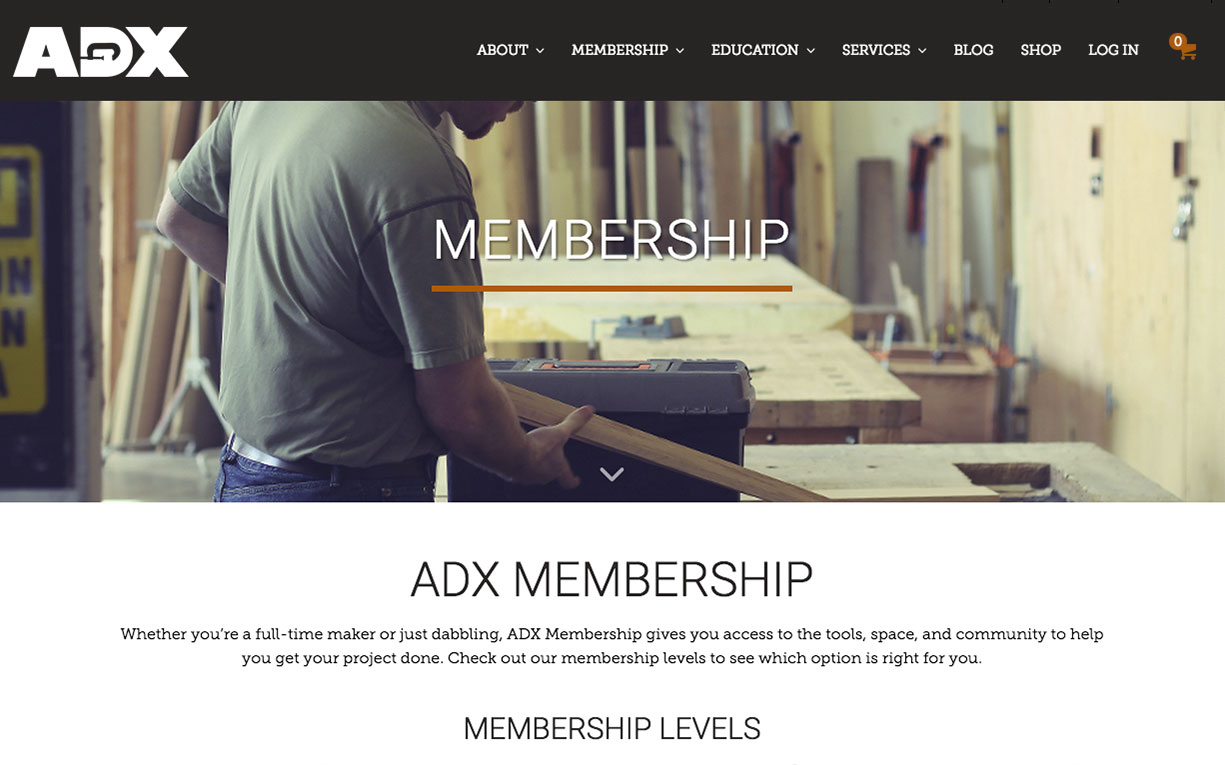 ADX Wordpress website integrated with membership management software